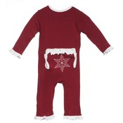 Kickee Pants Brick Snowflake Ruffle Holiday Applique Coverall