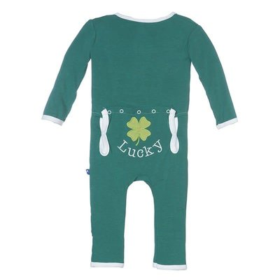 Kickee Pants Holiday Fitted Applique Coverall (Shady Glade Lucky Clover)