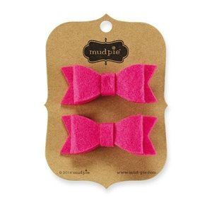 Mud Pie BRIGHT PINK FELT HAIR CLIPS