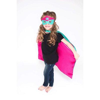 Lincoln&Lexi Superhero Cape & Mask Set-Crown-Teal