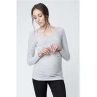 Ripe Maternity Mini Stripe Nursing Tube Tee (White/Black)