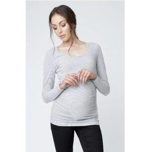 37144778355 Ripe Maternity Mini Stripe Nursing Tube Tee (White Black)