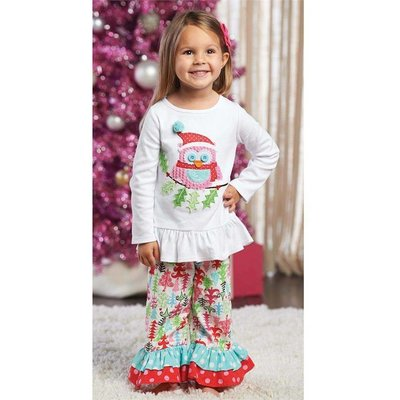Mud Pie Christmas Owl Pant Set