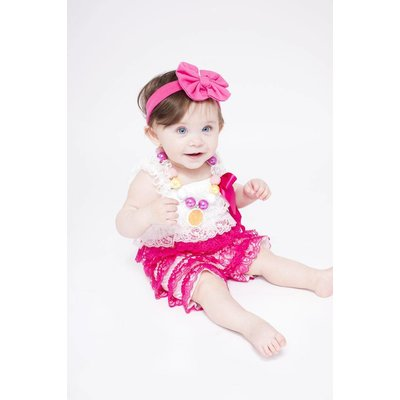 Lincoln&Lexi Lace Romper (Hot Pink & White)