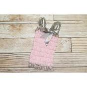 Lace Romper (Light Pink & Grey)