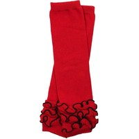 juDanzy Red Triple Ruffle Leg Warmers.OS(10 LBS-10+Years)