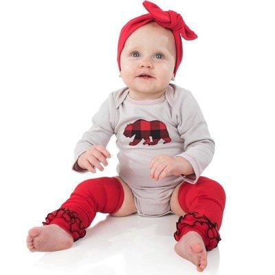 Red Triple Ruffle Leg Warmers.OS(10 LBS-10+Years)