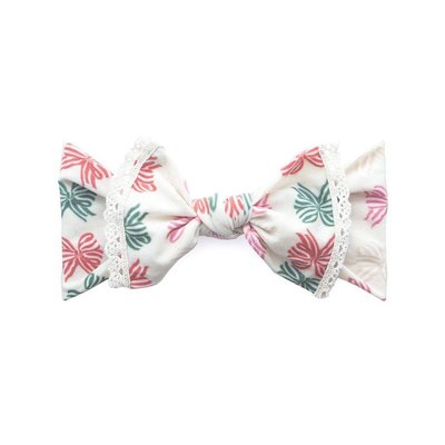 Baby Bling Trimmed Printed Knot (Holiday Bow w/ Ivory Lace Trim)