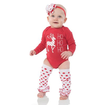 juDanzy White with Red Dot Triple Ruffle Leg Warmers