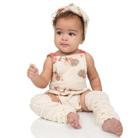 Cream Rouched Leg Warmers