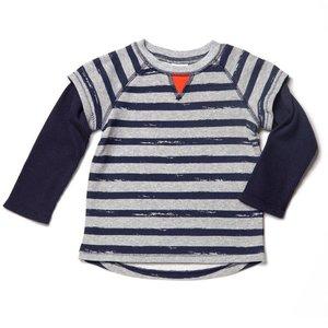 Grey Stripe French Terry Shirt