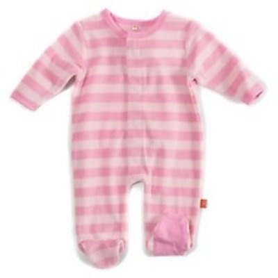 Magnificent Baby Magnificent Pink Tonals Velour Magnetic Footie