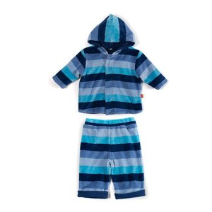 Magnificent Baby Multi Stripe Velour Magnetic Hoodie Set