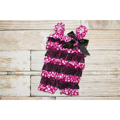Minnie Mouse Lace Romper (Hot Pink)