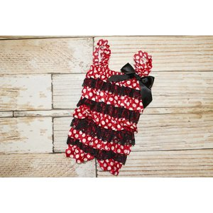 Lincoln&Lexi Minnie Mouse Lace Romper (Red)