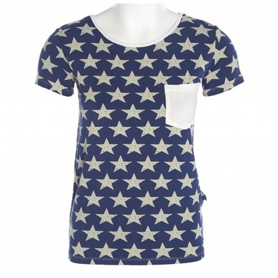 Kickee Pants Print Short Sleeve Loosey Goosey Tee with Pocket (Vintage Stars)