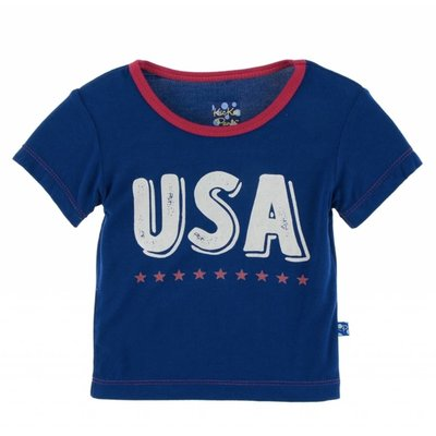 Kickee Pants Short Sleeve Piece Print Tee (Flag Blue USA)