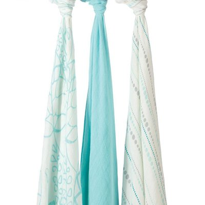 aden+anais azure 3-pack silky soft swaddles