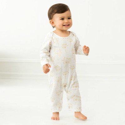 aden+anais metallic gold dandelion long sleeve coverall
