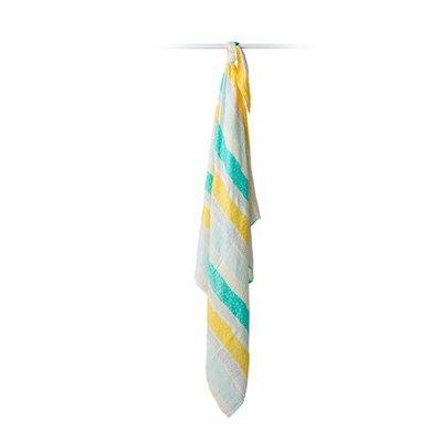 Lulujo Aqua Spotted Stripe Bamboo Swaddle – 47×47″
