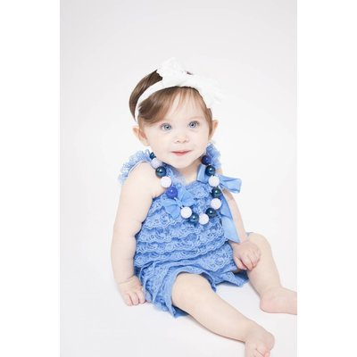 Lincoln&Lexi Solid Lace Romper (Blue)