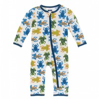 Kickee Pants Print Coverall with Zipper (Amazon Frogs)
