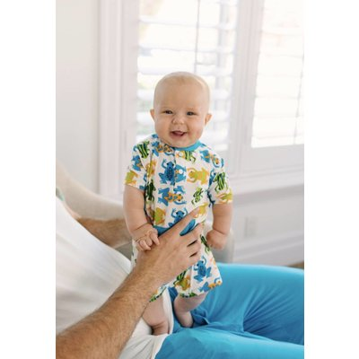 Kickee Pants Print Kangaroo Romper (Amazon Frogs)