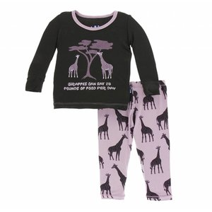 Kickee Pants Print Long Sleeve Pajama Set (Sweet Pea Giraffe)
