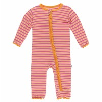 Kickee Pants Print Muffin Ruffle Coverall with Zipper (Flamingo Brazil Stripe)
