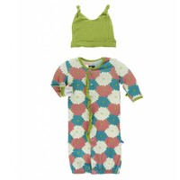 Kickee Pants Print Ruffle Layette Gown Converter and Double Knot Hat Set (Tropical Flowers)