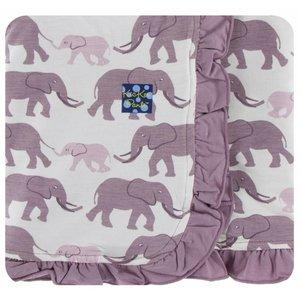 Kickee Pants Print Ruffle Stroller Blanket (Natural Elephants - One Size)