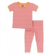 Kickee Pants Print Short Sleeve Pajama Set (Flamingo Brazil Stripe)