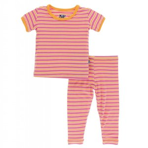 Kickee Pants Print Short Sleeve Pajama Set (Flamingo Brazil Stripe)
