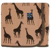 Kickee Pants Print Swaddling Blanket  (Suede Giraffes - One Size)