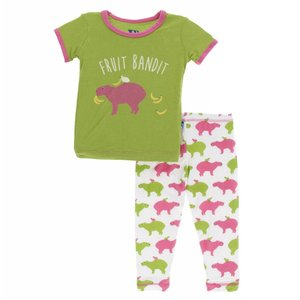 Kickee Pants Print Short Sleeve Pajama Set (Natural Capybara)