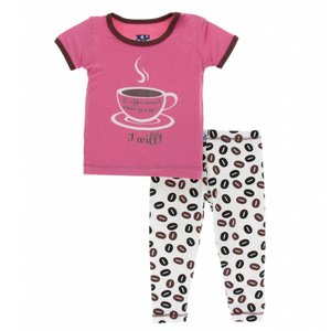 Kickee Pants Print Short Sleeve Pajama Set (Natural Coffee Beans)