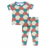 Kickee Pants Print Short Sleeve Pajama Set (Tropical Flowers)