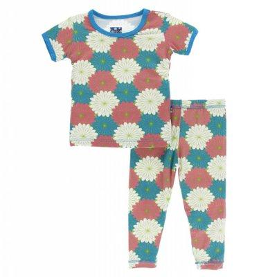 Kickee Pants Print Short Sleeve Pajama Set (Tropical Flowers)