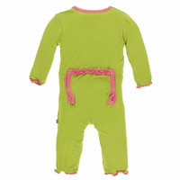 Kickee Pants Solid Muffin Ruffle Coverall with Zipper (Meadow with Flamingo)
