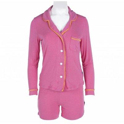 Kickee Pants Solid Women's Collared Pajama Set with Shorts (Flamingo with Tamarin)