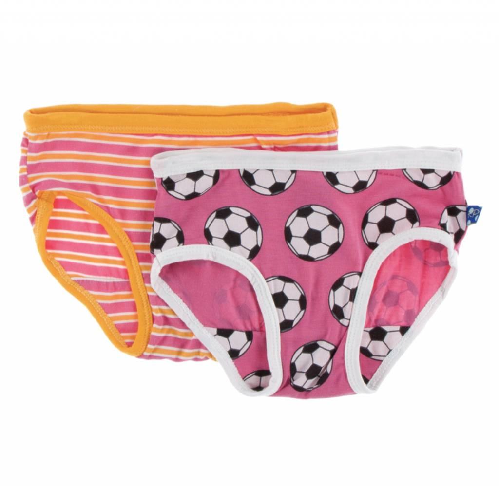 47bfa838a4 Kickee Pants Girl Underwear Set (Flamingo Brazil Stripe and Flamingo Soccer)