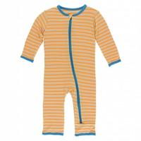 Kickee Pants Print Coverall with Zipper (Tamarin Brazil Stripe)