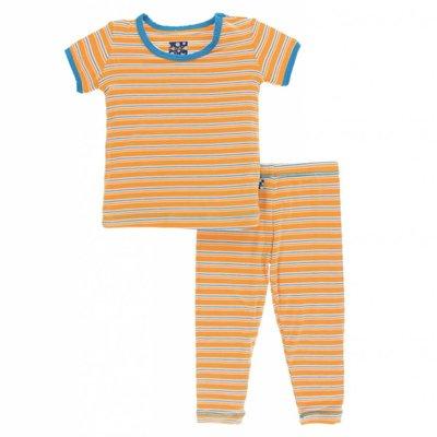 Kickee Pants Print Short Sleeve Pajama Set (Tamarin Brazil Stripe)