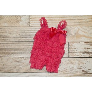 Solid Lace Romper (Strawberry)