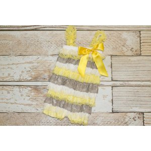Lincoln&Lexi Stripe Lace Romper (Grey,Yellow&White)