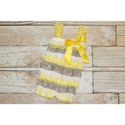 Lincoln&Lexi Stripe Lace Romper (Grey,Yellow&White)