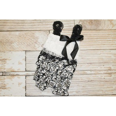 Lincoln&Lexi Lace Romper (Black Damask)