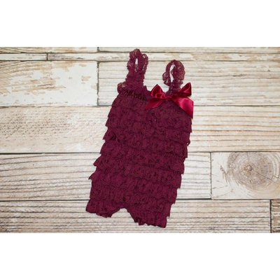 Lincoln&Lexi Solid Lace Romper (Burgundy)