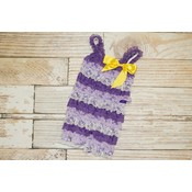Stripe Lace Romper (Purples with Yellow Bow)