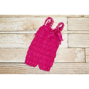 Solid Lace Romper (Hot Pink)